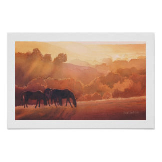 """Horse Point"" Horse Landscape Watercolor Poster"