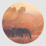"""Horse Point"" Horse Landscape Watercolor Classic Round Sticker"