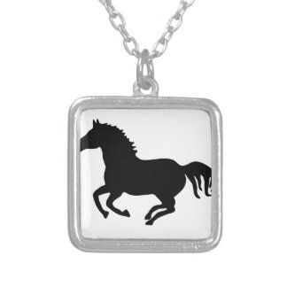horse pony horse mustang riding ride silver plated necklace