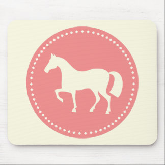 Horse/Pony silhouette mousepad (creme & pink)