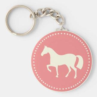 Horse/Pony silhouette round keychain (pink)