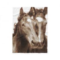 Horse Portrait III Fleece Blanket