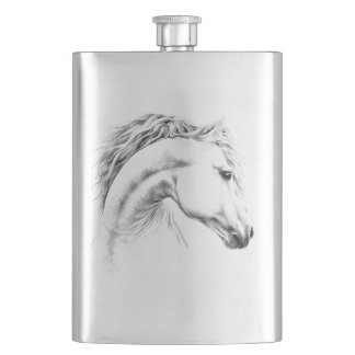 Horse portrait pencil drawing art Flask