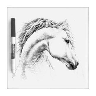 Horse portrait pencil drawing dry-erase board