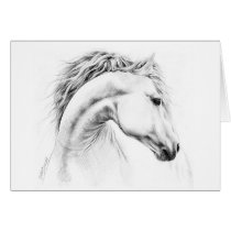 Horse portrait pencil drawing note card