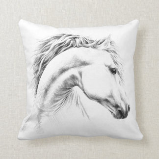 Horse portrait pencil drawing Throw pillow
