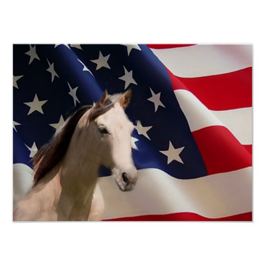 Horse Poster American Flag