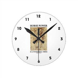 Horse Power Is A Wonderful Thing Leonardo da Vinci Wall Clock