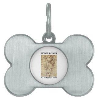 Horse Power Is A Wonderful Thing Leonardo da Vinci Pet Name Tags