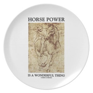 Horse Power Is A Wonderful Thing Leonardo da Vinci Party Plates