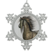 Horse Power Snowflake Pewter Christmas Ornament