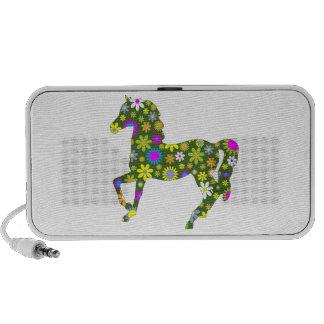 Horse prancing funky retro floral flowers colorful laptop speakers