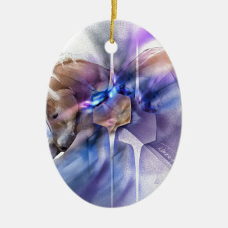 Horse prayer purple christian religious equine ceramic ornament