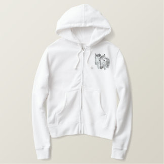 Horse Profile Pair Embroidered Hoodie