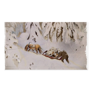 Horse Pulling Sled Through the Woods Business Card