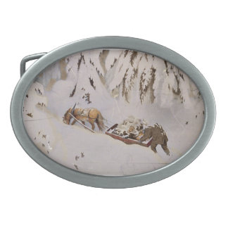 Horse Pulling Sled Through the Woods Oval Belt Buckle