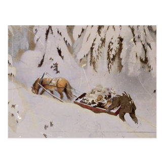 Horse Pulling Sled Through the Woods Postcard