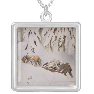 Horse Pulling Sled Through the Woods Square Pendant Necklace