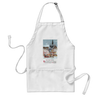 Horse Pulling Sleigh Vintage New Year Apron
