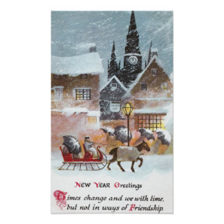 Horse Pulling Sleigh Vintage New Year Poster