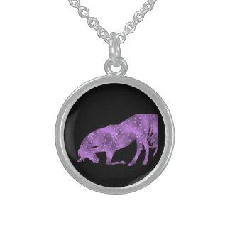 Horse Purple Star Silhouette Necklace