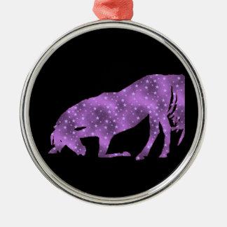 Horse Purple Star Silhouette  Ornament