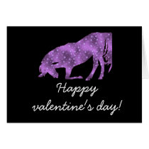 Horse Purple Star Silhouette Valentine's Day Card