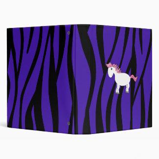 Horse purple zebra stripes vinyl binder