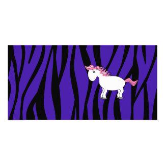 Horse purple zebra stripes photo card template