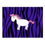 Horse purple zebra stripes postcard