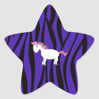 Horse purple zebra stripes star sticker