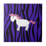 Horse purple zebra stripes tile
