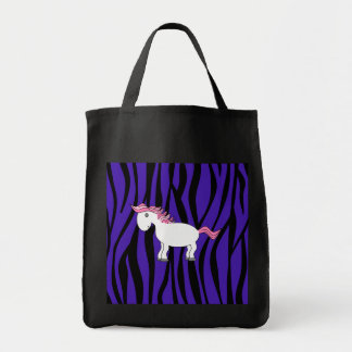 Horse purple zebra stripes tote bag