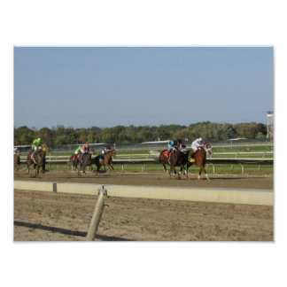 Horse Race at the Racetrack Poster