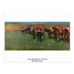 Horse Race Before The Start By Edgar Degas Postcard