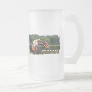 Horse Race Finish Frosted Beer Mug