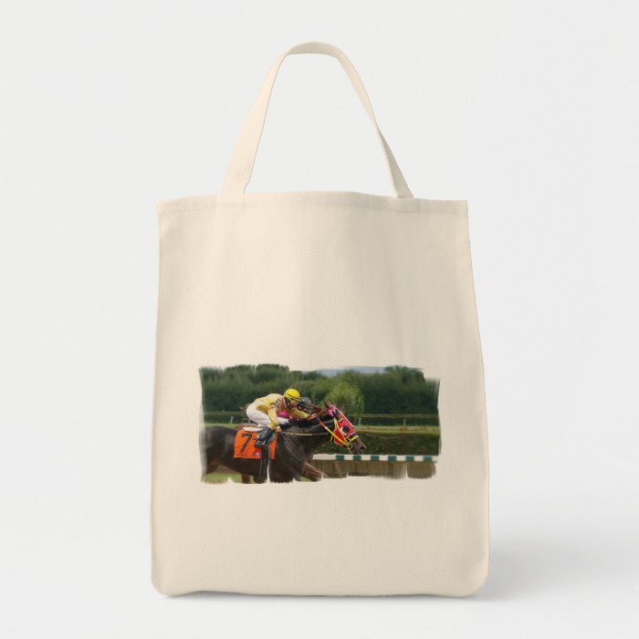 Horse Race Finish Grocery Tote Bag