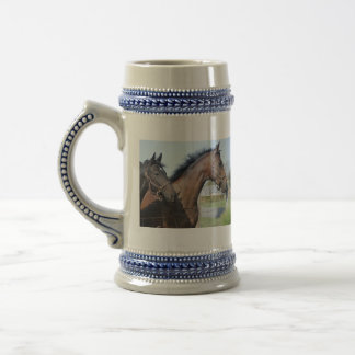 Horse Race Finish Line Beer Stein