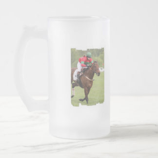 Horse Race Frosted Beer Mug