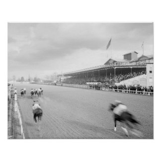 Horse Race in New Orleans, 1906. Vintage Photo Poster