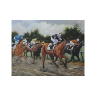 Horse Race-Sloppy Track Stretched Canvas Prints