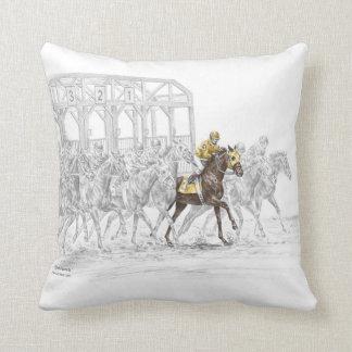 Horse Race Starting Gate Throw Pillows