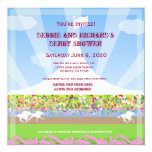 Horse Racetrack Jack & Jill Shower Party - 5.25x5.25 Square Paper Invitation Card