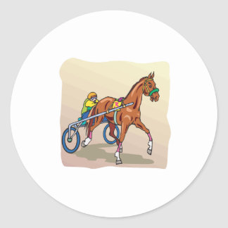 Horse Racing 3 Classic Round Sticker