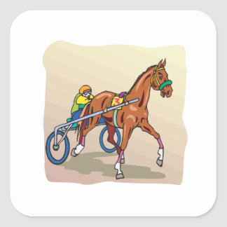 Horse Racing 3 Square Sticker