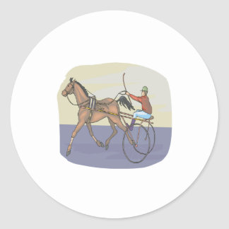 Horse Racing 4 Classic Round Sticker