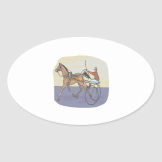 Horse Racing 4 Oval Sticker