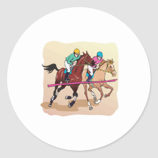 Horse Racing 7 Classic Round Sticker