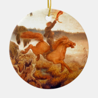 Horse Racing Across the Grass 1902 Christmas Tree Ornament