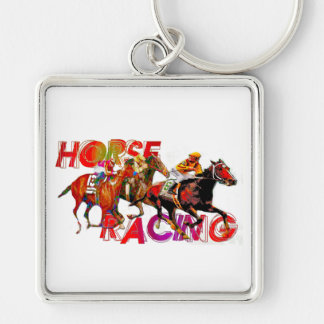 Horse Racing Action Keychain